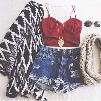 skirt shirt cut off shorts shorts coat sweater tribal pattern scarf necklace sunglasses hippie glasses red cardigan bag tank top