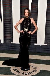 gown,prom dress,alessandra ambrosio,bodycon dress,oscars 2016,long prom dress,black dress,model off-duty