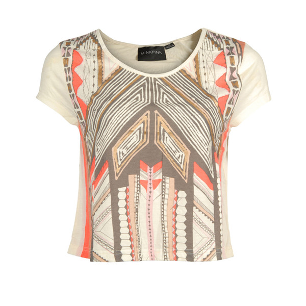 t-shirt womens multi colour mayan temple t-shirt mink pink
