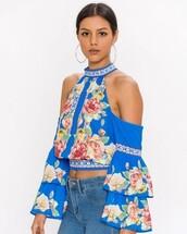 top,the bold shop,floral,boho,crop tops,ruffle,bell sleeves,open shoulder,cold shoulder,off the shoulder,blouse,28719