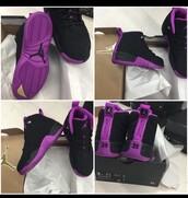 shoes,jordans,black sneakers,purple,nike,jordan 23,jordan's purple shoes