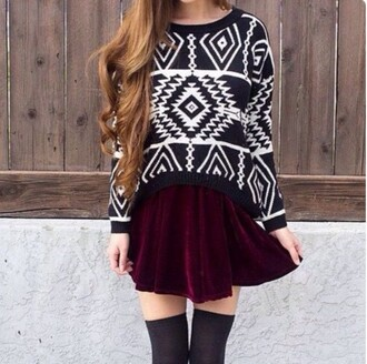 sweater aztec style fashion soft grunge grunge pullover tribal pattern pattern black black and white outfit grunge wishlist fall outfits back to school skirt