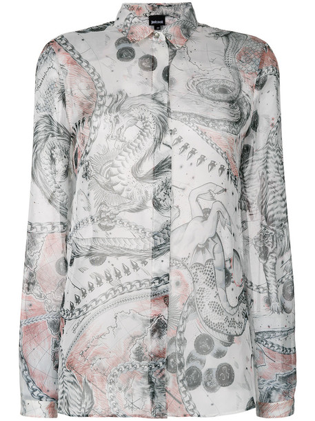 just cavalli shirt printed shirt women silk grey top