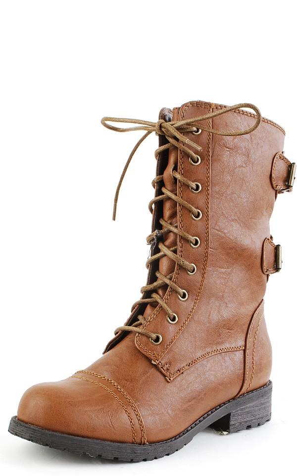 Timberly-02 Whisky Leatherette Round Toe Combat Boots | MakeMeChic.com
