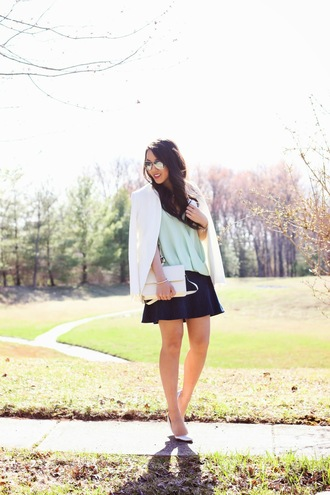refined couture blogger tank top skirt silver shoes white blazer white jacket mint mirrored sunglasses
