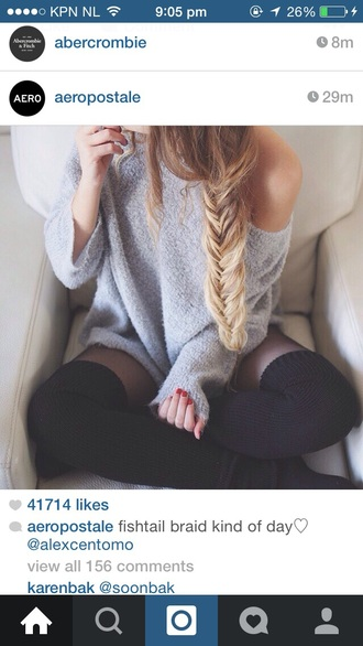 sweater grey sweater fluffy winter sweater snow warm sweater off the shoulder sweater braid