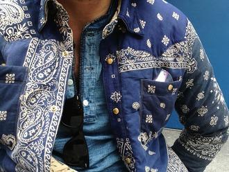 jacket bandana print blue and white paisley mens jacket spring jacket