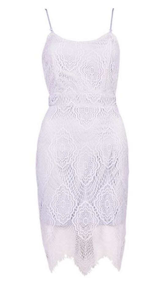 Light Purple Lace Spaghetti Strap Bodycon Dress