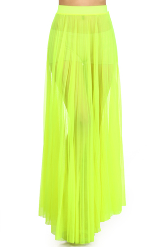 neon lime pleated maxi skirt