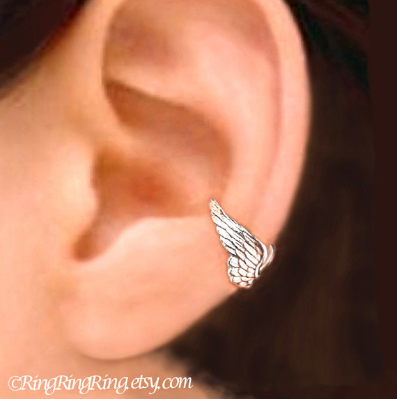 925. Tiny Guardian Angel wing earcuff  Sterling by RingRingRing