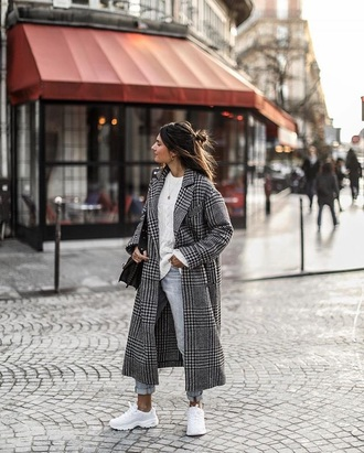 coat plaid plaid coat sweater white sweater grey coat denim blue jeans jeans white sneakers