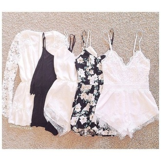 dress lace romper cute dress romper jumpsuit style fashion boho chic hippie boho hipe cute summer dress summer pants white dress jewels jacket bumper flowered shorts black dress shorts white black ineedthese lace dress any of these playsuits ❤️ hipster