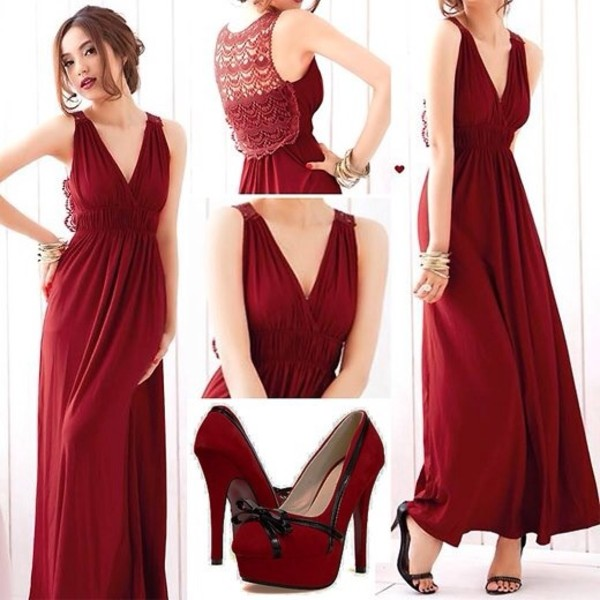 dress red maxi dress knitted back