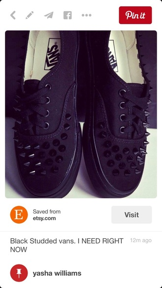 shoes all black spiked vans