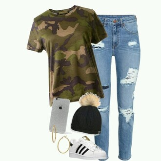 hat beanie camouflage camo shirt
