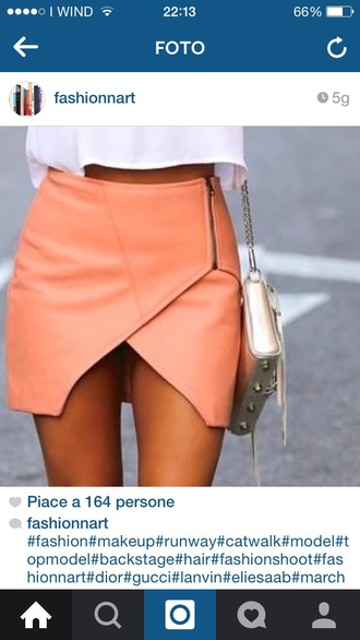 skirt coral leather orange zip mini short tan summer fashion fashion blogger insta instagram white chain skorts