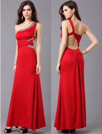 dress classy charming one shoulder sleeveless floor length dress evening dress