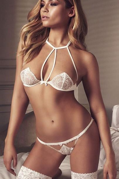 underwear white lace bra strapless cups triangle bra halter neck lingerie set honeymoon