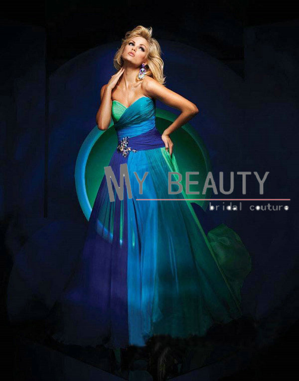 Aliexpress.com : Buy Custom Made Strapless Formal Dresses Purple Blue Multi 4 Colors Chiffon Prom Dress Long Bridesmaid Dress Party from Reliable prom dress beaded suppliers on 27 Dress