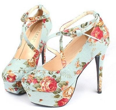FREE SHIPPING 2011 NEW LADY'S STRAPPY HEELS FASHION FLORAL PRINT SHOES,SEXY HIGH HEEL PLATFORM SHOES WOMEN DRESS SHOES TWO COLOR-IN PUMPS FROM SHOES ON ALIEXPRESS.COM on The Hunt
