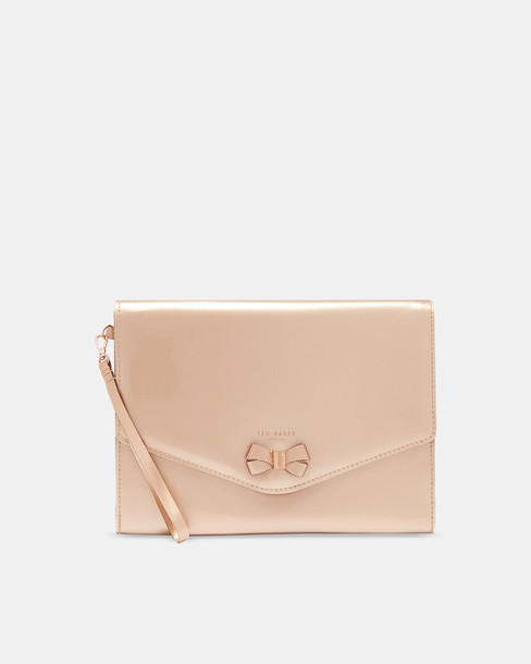 bow mini rose gold rose pouch gold bag