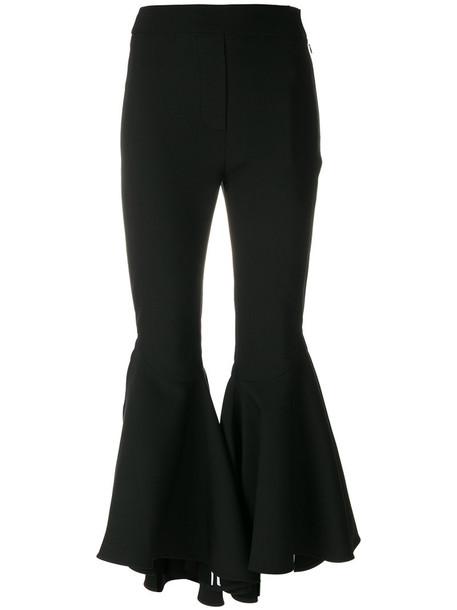 cropped women spandex cotton black wool pants