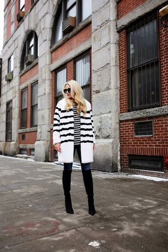 atlantic pacific blogger stripes winter coat white coat coat shoes sunglasses