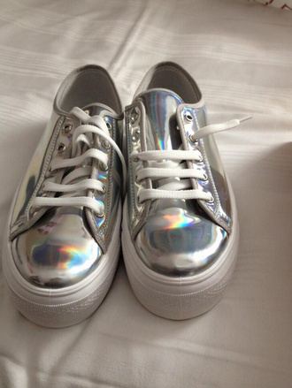 shoes argent metallic platform shoes white chaussures sneakers grey chaussures à lacets