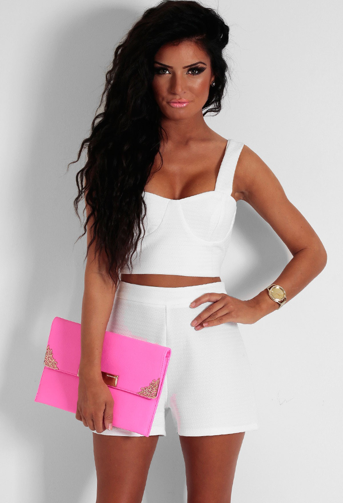 Coral Bay White Bralet Crop Top | Pink Boutique
