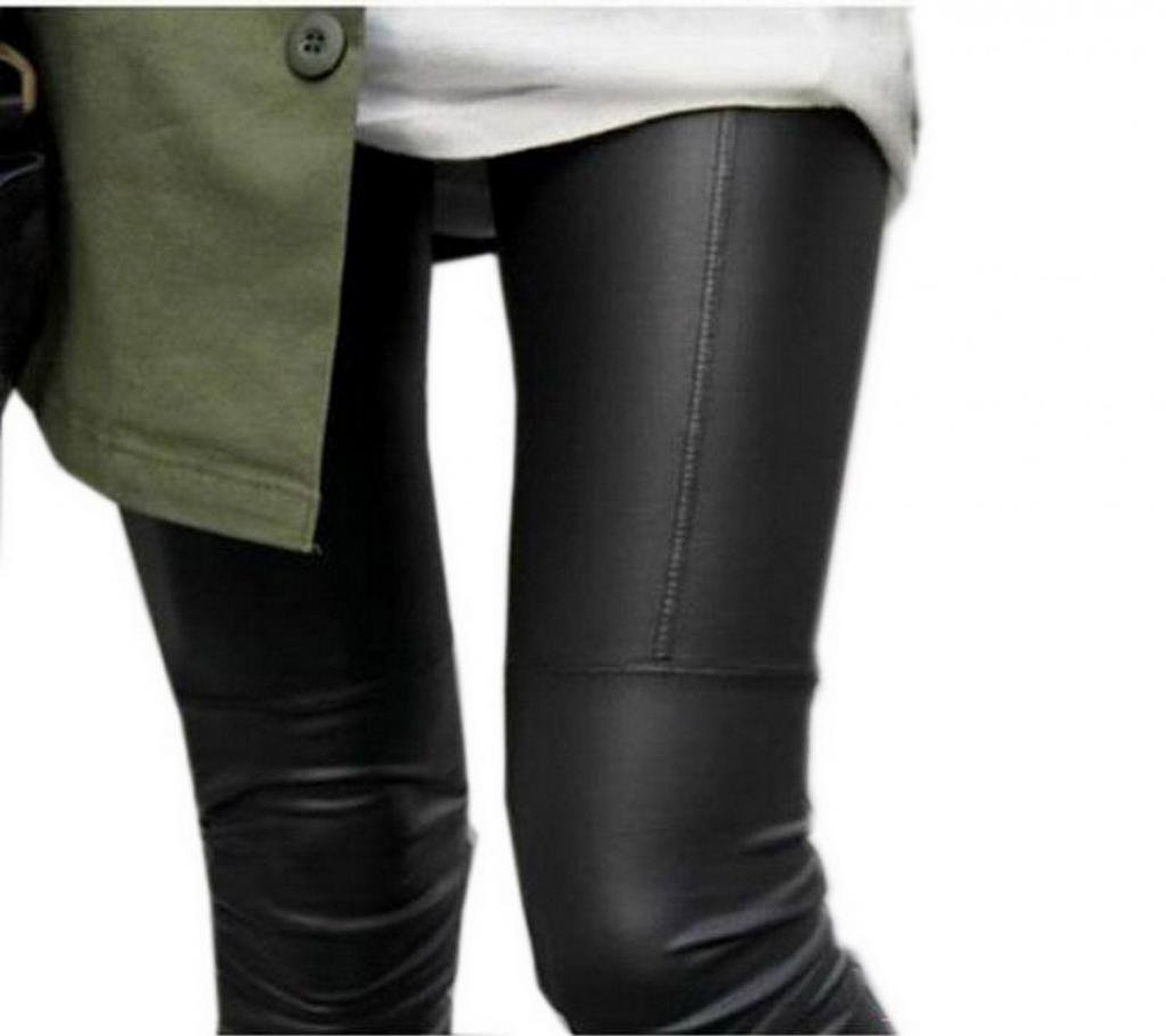 Dantiya ladies faux leather slim stretch footless leggings pants trousers tights at amazon women's clothing store: