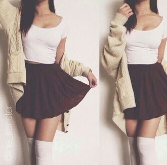 skirt cute outfit cute cardigan crop tops top skater skirt knee sock over the knee socks cream white bordeaux grey coat
