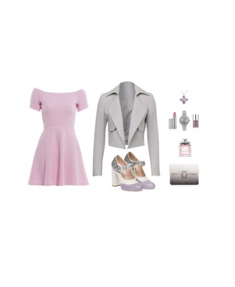 dress pink dress pink mini dress mini dress pink blazer grey high heels shoes jacket jewels silver earrings make-up watch bag clutch day dress long sleeve dress long sleeves