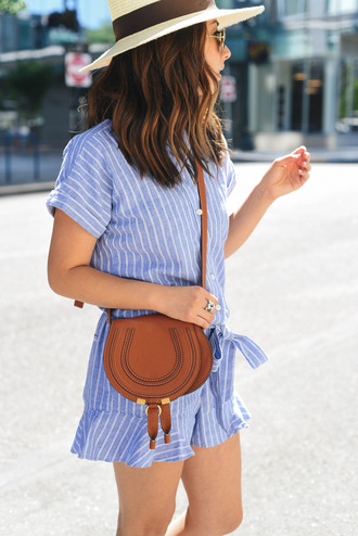 romper hat tumblr blue romper stripes bag brown bag