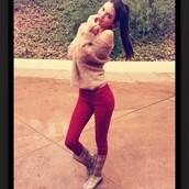 sweater,sweatshirt,beige,kendall jenner,boots,pants,jeans,red