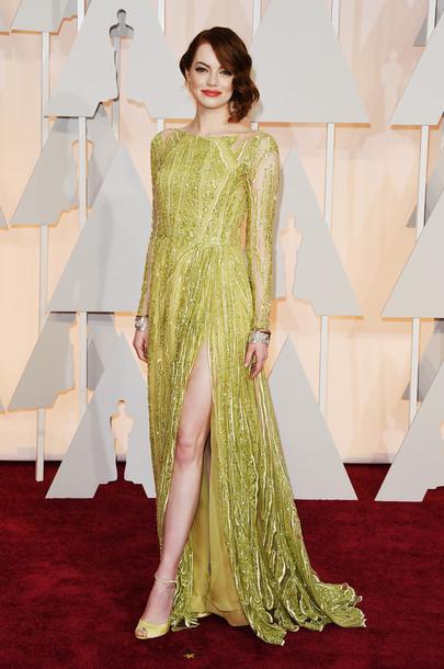 dress emma stone oscars 2015 gown red carpet dress beaded dress