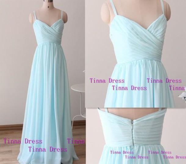dress chiffon light blue prom dress