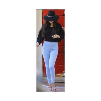 selena gomez black black sweatshirt black sweater american apparel fashion jeans hat disney