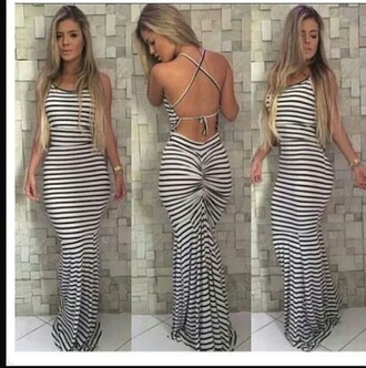 dress striped dress backless dress maxi dress