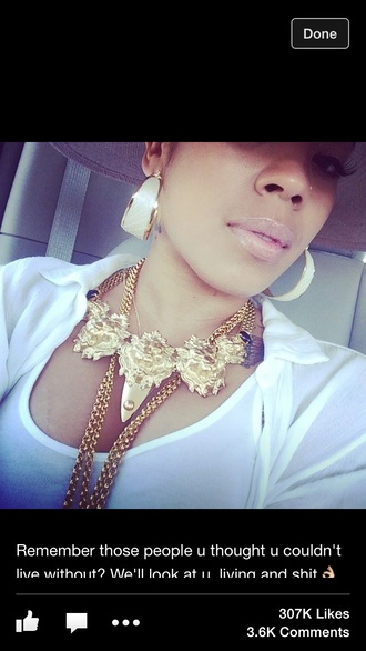 jewels gold keyshia cole chain chain link beige necklace earrings
