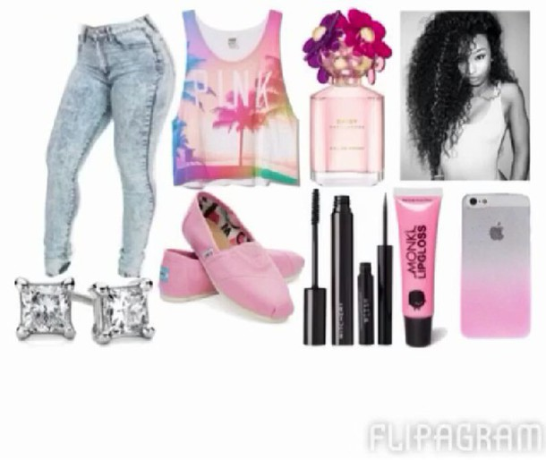 sweater cute curly hair pink pullover awsome beautiful toms acid wash jeans accessories t-shirt pants party diamonds lip gloss eyeliner make-up purfume