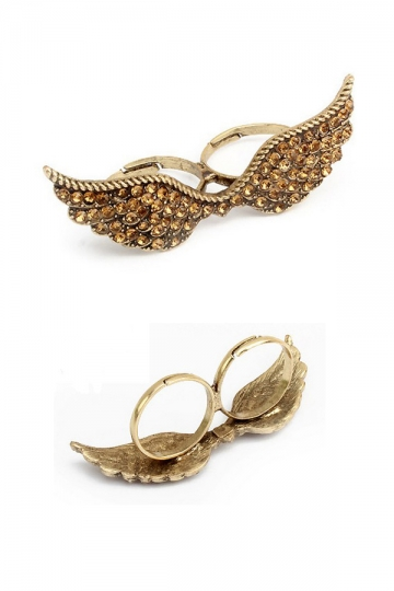 Rhinestone Wing Double Finger Ring [FUBJ00120]- US$12.99 - PersunMall.com