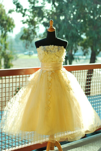 dress ball gown prom dress handmade dress applique evening dress formal dress yellow prom gown wedding dress