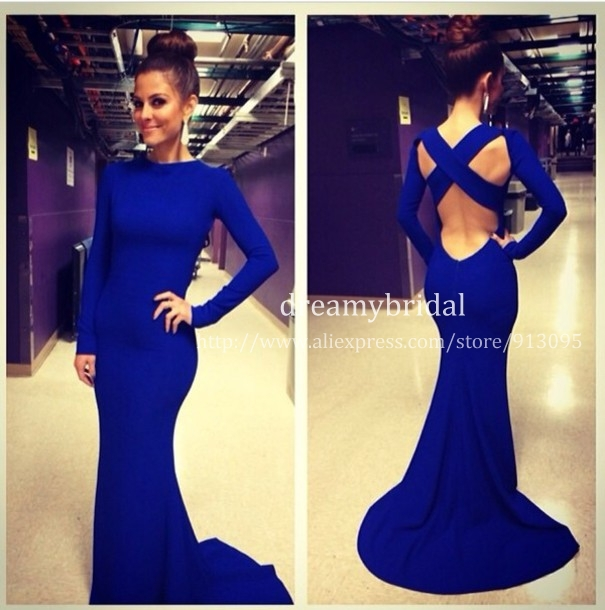 Aliexpress.com : buy 2014 new vestidos de fiesta royal blue sexy spandex high formal long evening dress with long sleeves mermaid evening gowns from reliable dress manufacture suppliers on suzhou dreamybridal co.,ltd