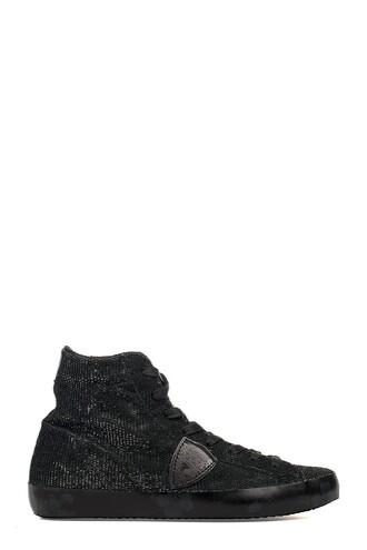 glitter paris high sneakers black velvet shoes