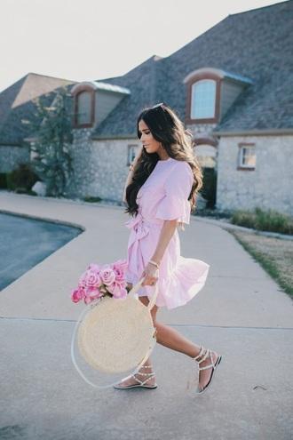 dress mini dress pink dress bag round bag ruffle handbag sandals