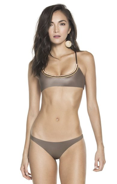 swimwear agua bendita minimal coverage adjustable top gold bikiniluxe
