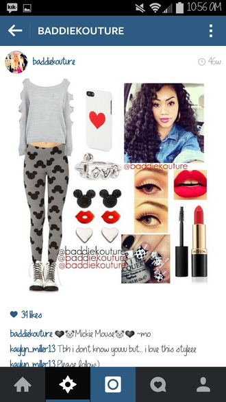 leggings minnie mouse mickey mouse minnie and mickey baddiekouture_ outfit outfit idea jewels