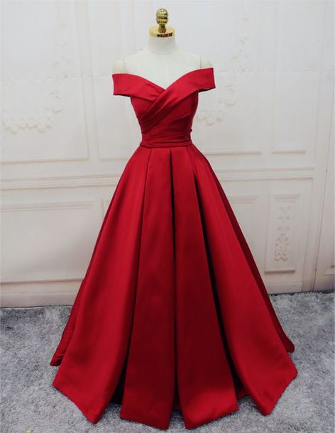 great quality classic style high quality dress, red satin dress, ball gown dress, dresses evening ...