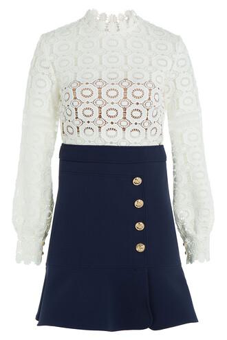 dress mini dress mini lace crochet multicolor