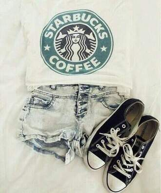 blouse starbucks coffee starbucks logo short jeans black converse